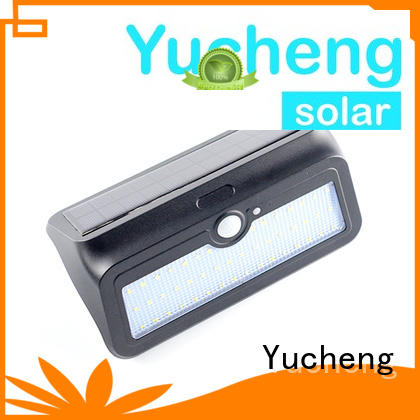 Yucheng Brand thin steel powered outside solar wall lights with motion sensor mounting