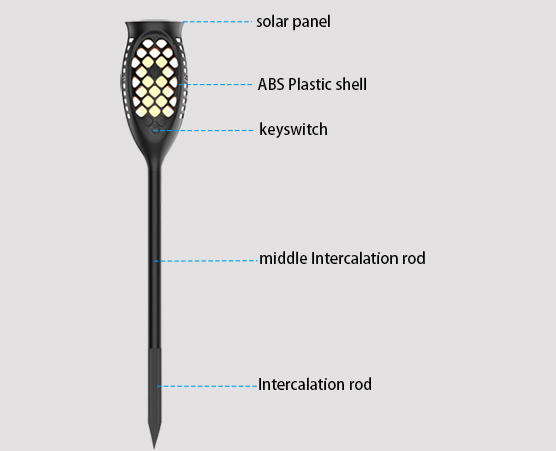 Yucheng simulate flame solar powered flame lights customized for courtyards
